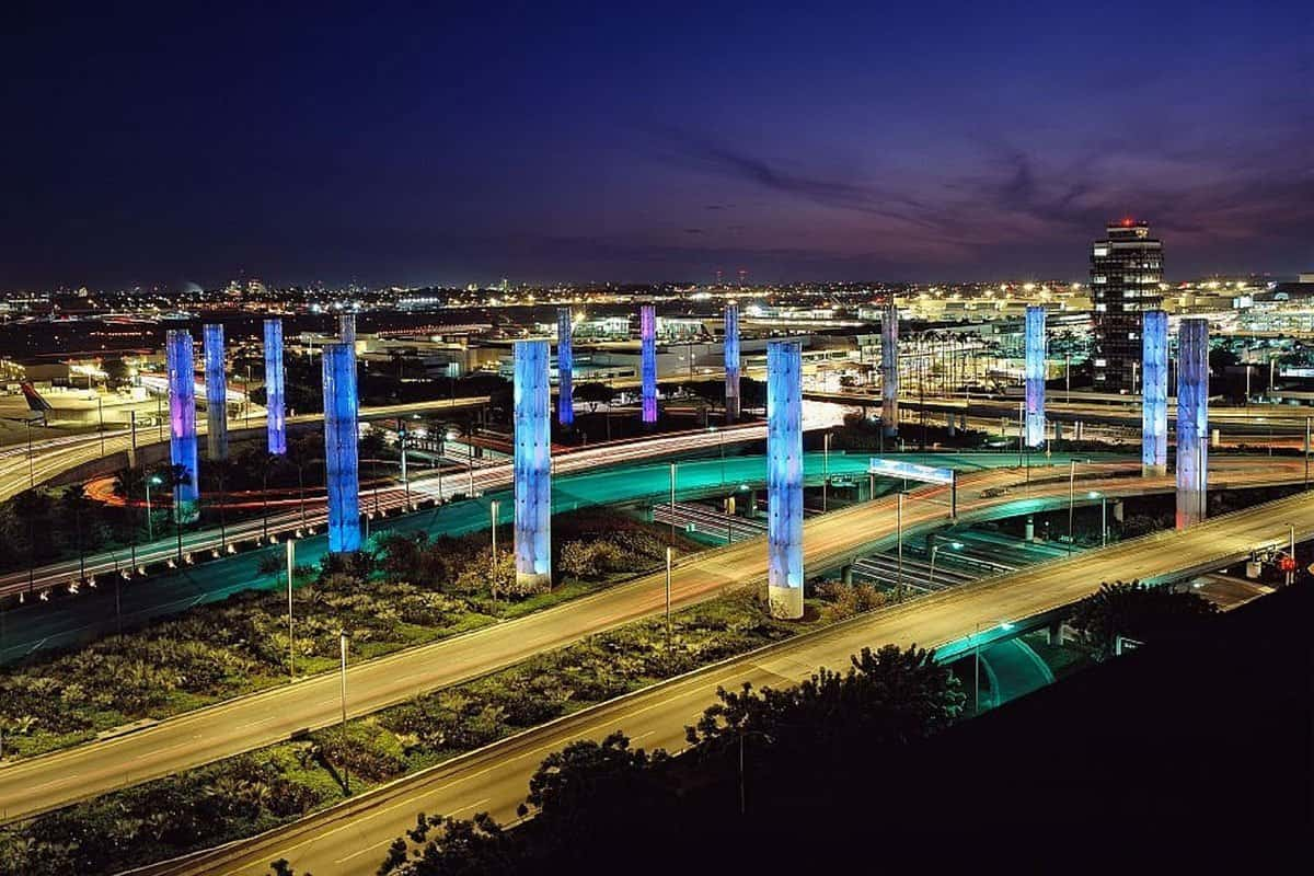 Photography of LAX Airport at night.