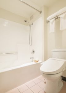 Restroom & Bath with a washlet toilet